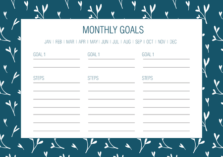 Monthly goals template. Vector illustration. Hand drawn floral texture. Abstract flowers.  Printable organizer, diary, planner for important goals for study, school or work.