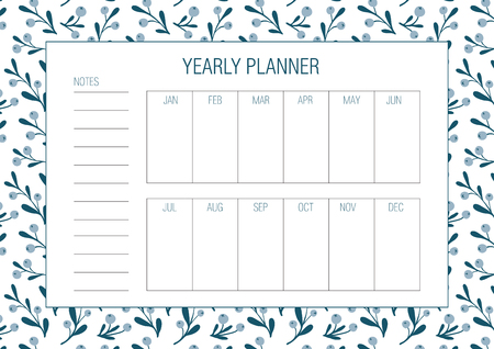 Yearly goals template. Vector illustration. Hand drawn floral texture. Abstract flowers. Botany. Printable organizer, diary, planner for important goals and dates for study, school or work.