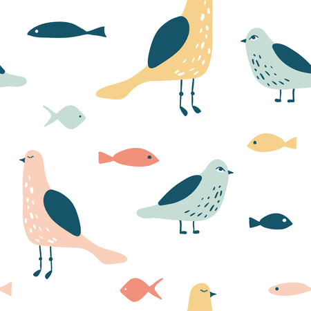 Funny seagull and fish seamless pattern. Hand drawn nautical illustration. Marine vector background. Cute cartoon birds. Modern minimal texture for kids textile, fabric, paper
