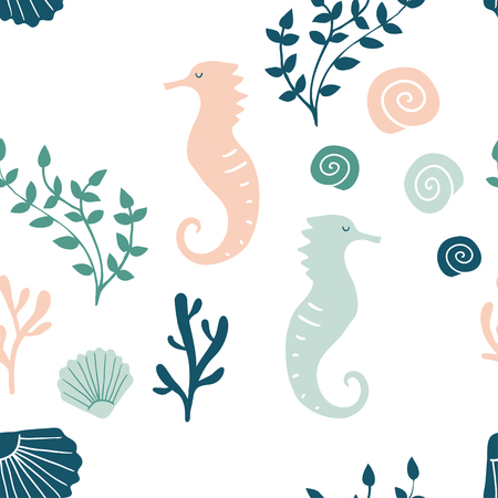 Vector underwater creatures seamless pattern. Sea animals background with sea horse, shell, corals. Texture with marine silhouettes in the minimal style