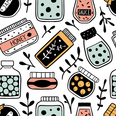 Seamless pattern with doodle jars and herbs. Hand drawn vector illustration of cute different shape jars and bottles: jam, sauce, honey. Black and white sketch.