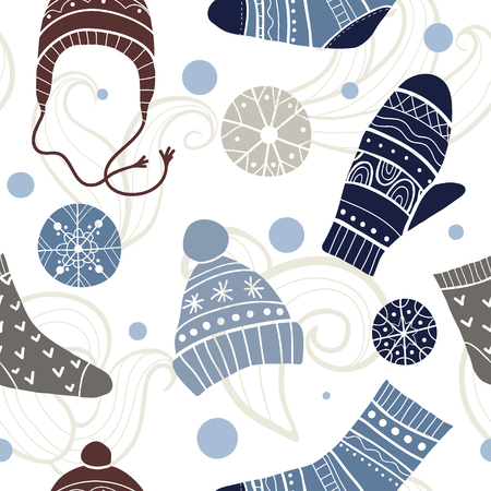 Christmas vector seamless pattern. Merry xmas pattern with cute winter accessories: socks, hats, mittens. Hand draw texture of clothes with ornaments. New Year and holidays symbols