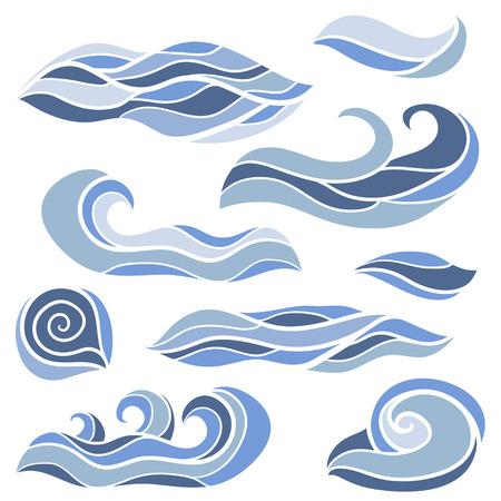 Ensemble de vagues stylisées. Doodles dessinés à la main de vecteur de croquis. Collection d'éléments décoratifs de boucles et de tourbillons