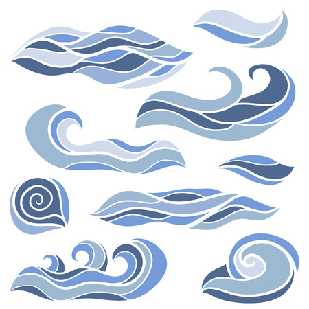 Stylized waves set. Sketch vector hand drawn Doodles. Collection of curls and swirls decorative elements