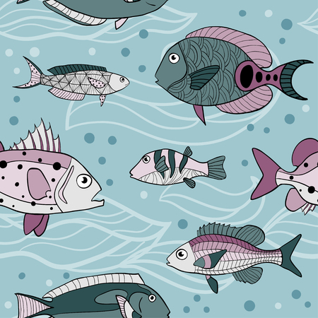 Vector Sea seamless pattern. Hand drawn stylized fishes on light blue. Aquarium texture with sketch style fish with doodles. Colorful drawing