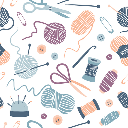 Handmade Kit seamless pattern: Sewing, Needlework, Knitting: scissors, thread, needles, yarn balls. Arts and crafts hand drawn supplies. Hobby tools collection. Flat vector illustration of hand made equipment.