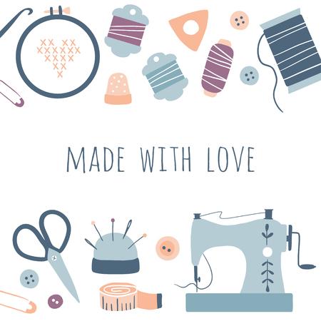 Fatto con amore. Poster di strumenti per hobby. Set di icone di kit fatti a mano: cucito, ricamo. Forniture per schizzi disegnati a mano di arti e mestieri, strumenti, design per biglietti, stampe, poster Vettoriali