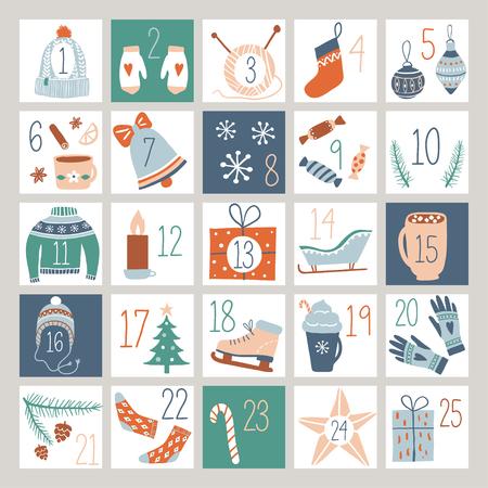 Calendario de Adviento de cuenta regresiva o póster con lindos elementos de diseño dibujados a mano. Colección abstracta de etiquetas imprimibles para vacaciones de invierno, feliz Navidad, año nuevo. Ilustración de vector. Ilustración de vector