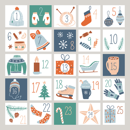 Countdown Advent Calendar or Poster with cute hand drawn design elements. Abstract printable tags collection for Winter Holidays, Merry Christmas, New Year. Vector illustration.