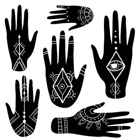 Ethnic set with hands. Boho tribal elements. Henna tattoo vector collection. Hand drawn mehendi ornaments on palms. Palmistry and esoteric concept. Illustration
