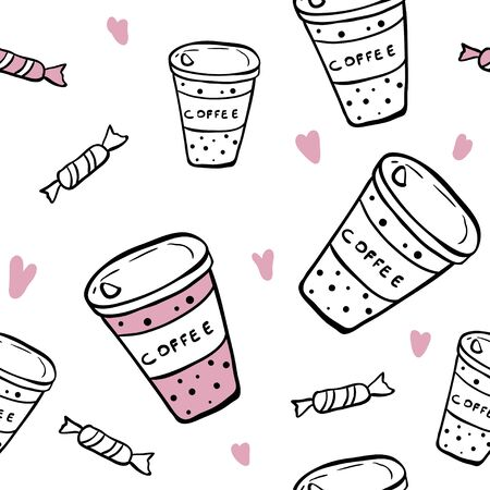 Coffee cups with hearts seamless pattern. Vector background for kitchen textile, fabric, paper. Sketch style hand drawn illustration. Cute take away cups. Hot cup of drink for breakfast