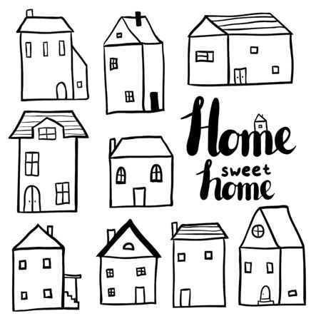 Decorative doodle houses collection. Stylized city. Street Cottages. Line art. Black and white outline illustration. Children art set. Home sweet home phrase. Monochrome free hand architecture Ilustração
