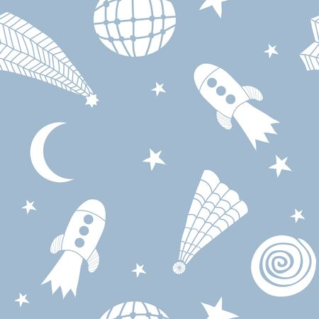 Cosmic seamless pattern for kids. Space vector doodle illustration. Stars, planet, constellation. Cartoon illustration. Hand drawn abstract background for textile, covers, package, wrapping paper 일러스트