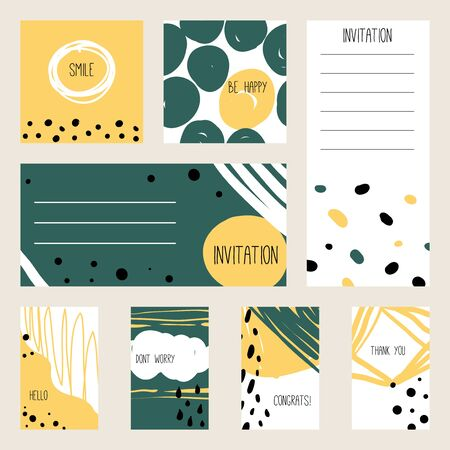 Abstract composition with hand drawn  texture. Wedding, birthday, party invitation, greeting cards. Set of artistic creative universal cards. Hand Drawn grunge textures. Vector