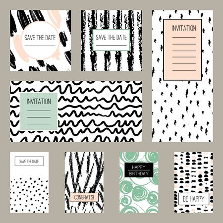 Set of hand drawn texture designs for backgrounds, vector illustration. Abstract cards with brush strokes. Greeting card, invitation, banner, postcard