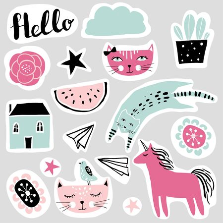 Set of funny stickers in cartoon style. Happy colorful patches collection: cats, stars, flowers, unicorn, cloud, watermelon, house, plant. Vector illustration. Cute design for girls, kids