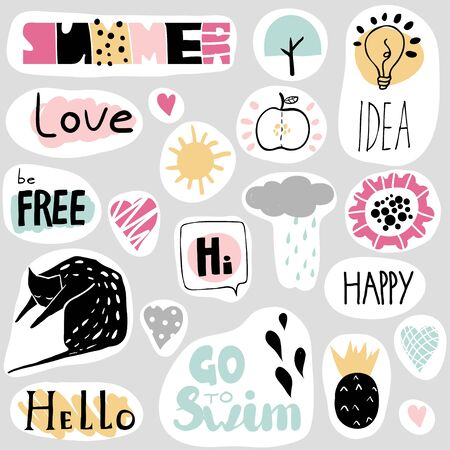 Set of funny stickers in cartoon style. Happy colorful patches collection: cat, hearts, sun, apple, pineapple, cloud and hand written text. Vector illustration. Cute design for girls, kids