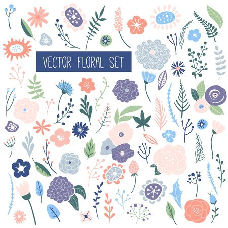 Flower graphic design. Vector set of floral elements with hand drawn flowers and leaves. Herbs and wild flowers collection. Hand drawn vector botany bundle