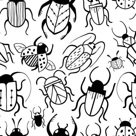 Seamless pattern with hand drawn doodle insects. Beetles collection in outline style. Isolated on white. Minimalistic vector graphic design for paper, textile print, page