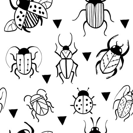 Seamless pattern with hand drawn insects and triangles. Beetles collection in outline style. Minimalistic vector graphic design for paper, textile print, page fill.