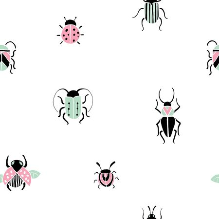 Seamless pattern with hand drawn insects. Cute colorful beetles in flat style. Minimalistic vector texture for paper, textile print, page fill, paper. Free hand doodle bugs. Small Animals Vector Ilustracja