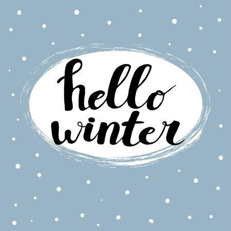 Hello winter text on blue background. Card design with hand written calligraphy. Winter season cards, greetings. Vector Brush lettering