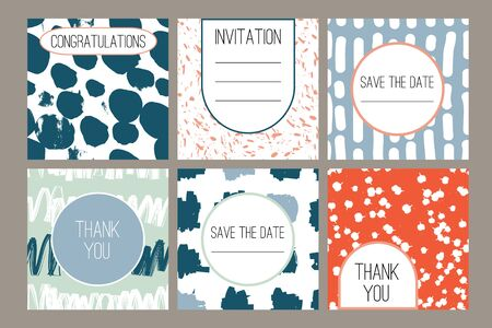 6 Modern abstract cards with hand drawn grunge texture. Wedding, birthday, party invitation, greeting cards, save the date, thank you. Set of artistic creative universal cards. Vector
