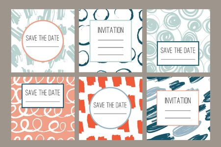 6 Modern abstract cards with hand drawn grunge texture. Wedding, birthday, party invitation, greeting cards, save the date. Set of artistic creative universal cards. Hand Drawn textures. Vector