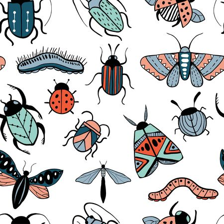 Seamless pattren with colorful hand drawn insects. Beetle, butterfly, moth. Hand drawn doodle vector background. Ilustracja