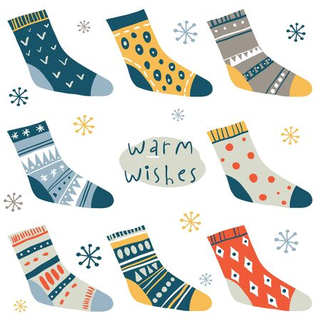 Warm wishes. Winter vector card with cute socks and hand written text. Funny doodle socks set with different patterns. Merry xmas, Ney Year icons, elements and illustrations