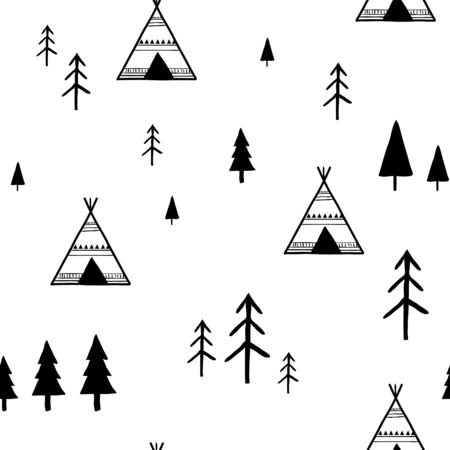 Scandinavian geometric seamless pattern for kids. Simple minimalist trees and tents. Cartoon hand drawn Vector illustration. Abstract background for textile, covers, package, wrapping paper