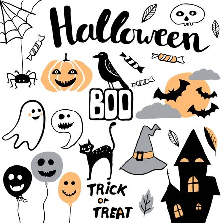 Cute vector set with Halloween illustrations. Cute and funny cartoon characters: pumpkin, ghost, cat, bat, balloon, spider. Childish illustration with hand written text Standard-Bild - 130028639