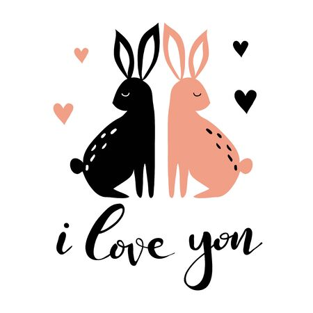 Hand drawn card with hearts, rabbits and lettering for Valentine day or wedding. Cute doodle llustration about love. Design for prints and cards.