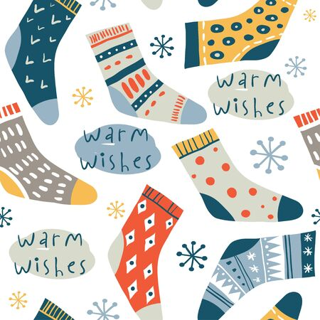 Warm wishes. Winter vector seamless pattern with cute socks and hand written text. Funny doodle socks with different patterns. Merry xmas, Ney Year icons, elements and illustrations Иллюстрация