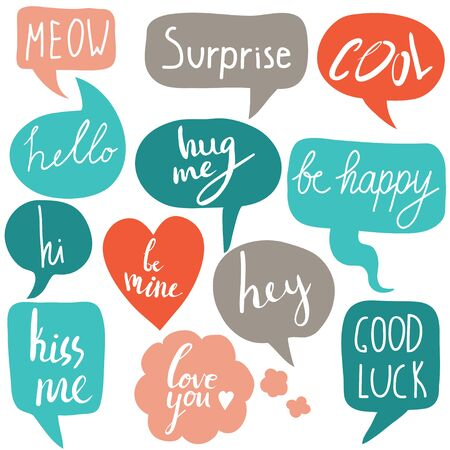 Hand drawn set of speech bubbles with short messages. Hi, hello, hey, surprise, love you, good luck, kiss me. Vector colorful set with hand written text Ilustração
