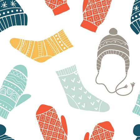 Winter vector seamless pattern with cute socks, hats, mittens. Merry xmas pattern. Winter Christmas icons, elements and illustrations  イラスト・ベクター素材