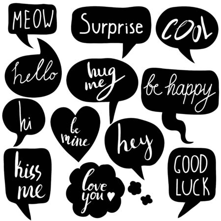 Hand drawn set of speech bubbles with short messages. Hi, hello, hey, surprise, love you, good luck, kiss me. Vector black and white set with hand written text.