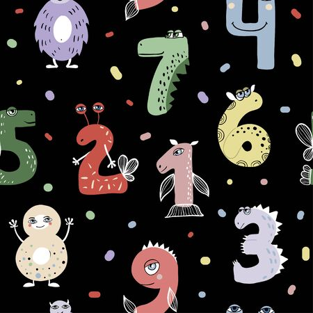 Seamless pattern with cute cartoon number monsters. Flat style design. Funny monsters for kids learning counting or mathematics.