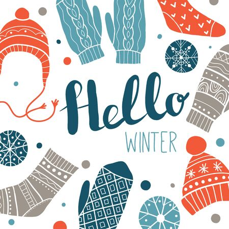 Hello winter. Colorful greeting card or print design with cute socks, hats, mittens, snowflakes. Vector illustration. Winter Christmas icons, elements and illustrations 写真素材 - 130028694