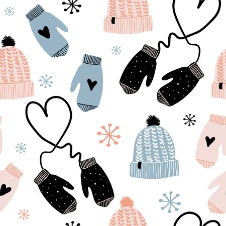 Cute winter vector seamless pattern with hats, mittens, snowflakes and hearts. Merry xmas, new year pattern. Winter Cartoon christmas icons and elements 写真素材 - 130028692