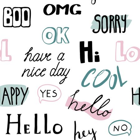 Seamless pattern with different words. Typography pattern. Lettering, hand written. Fun background Çizim