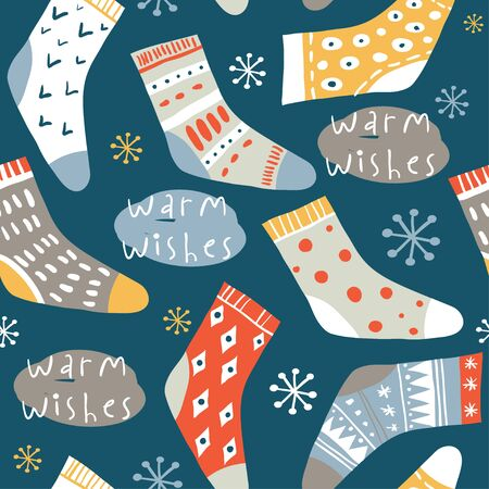 Warm wishes. Winter vector seamless pattern with cute socks and hand written text. Funny doodle socks with different patterns. Merry xmas, Ney Year icons, elements and illustrations Çizim