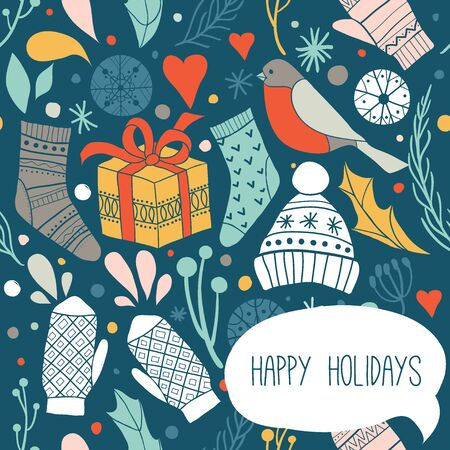 Happy holidays. Winter greeting card or print design with cute socks, hats, mittens, gift, birds, snowflakes. Vector illustration. Winter Christmas icons, elements and illustrations