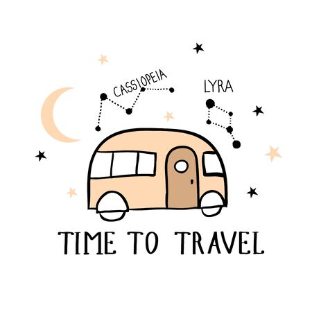 Time to travel. Hand drawn illustration with car and constellations. Outdoor adventure