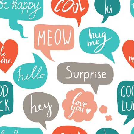 Hand drawn seamless pattern with speech bubbles with short messages. Hi, hello, hey, surprise, love you, good luck. Vector colorful background with hand written text Ilustração