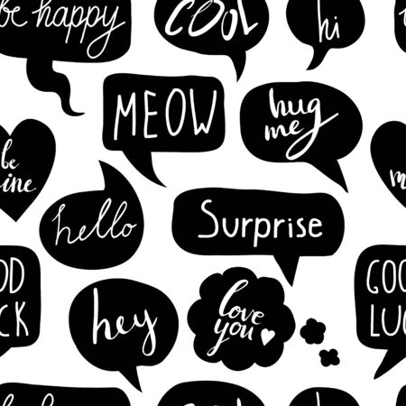Hand drawn seamless pattern with speech bubbles with short messages: hi, hello, hey, surprise, love you, good luck, kiss me. Vector black and white texture with hand written text.