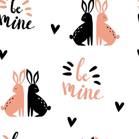 Funny lovely seamless pattern with rabbit couple and letters. Hand drawn background for Valentines day or wedding. Cute doodle illustration with hand written text Be mine. Love, romantic Çizim