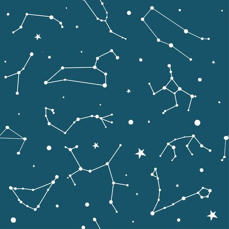 Seamless pattern with zodiac signs. Night sky with stars and constellations. Hand drawn astrological vector background. Иллюстрация
