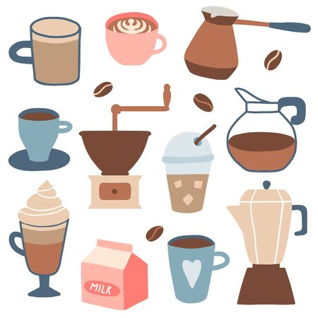 Set of different coffee types: americano, cappuccino, espresso, frappe, raf, mocha. Hot cup of drink for breakfast, kettle, mug, milk. Vector illustration in cartoon style Ilustracje wektorowe