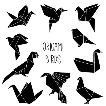 Cute collection with 10 black origami bird silhouettes. Vector set of line geometric birds: crane, pigeon, parrot, swan, colibri.